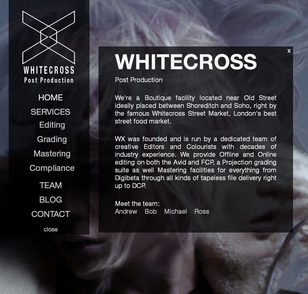 Whitecross Post Production Homepage Screenshot